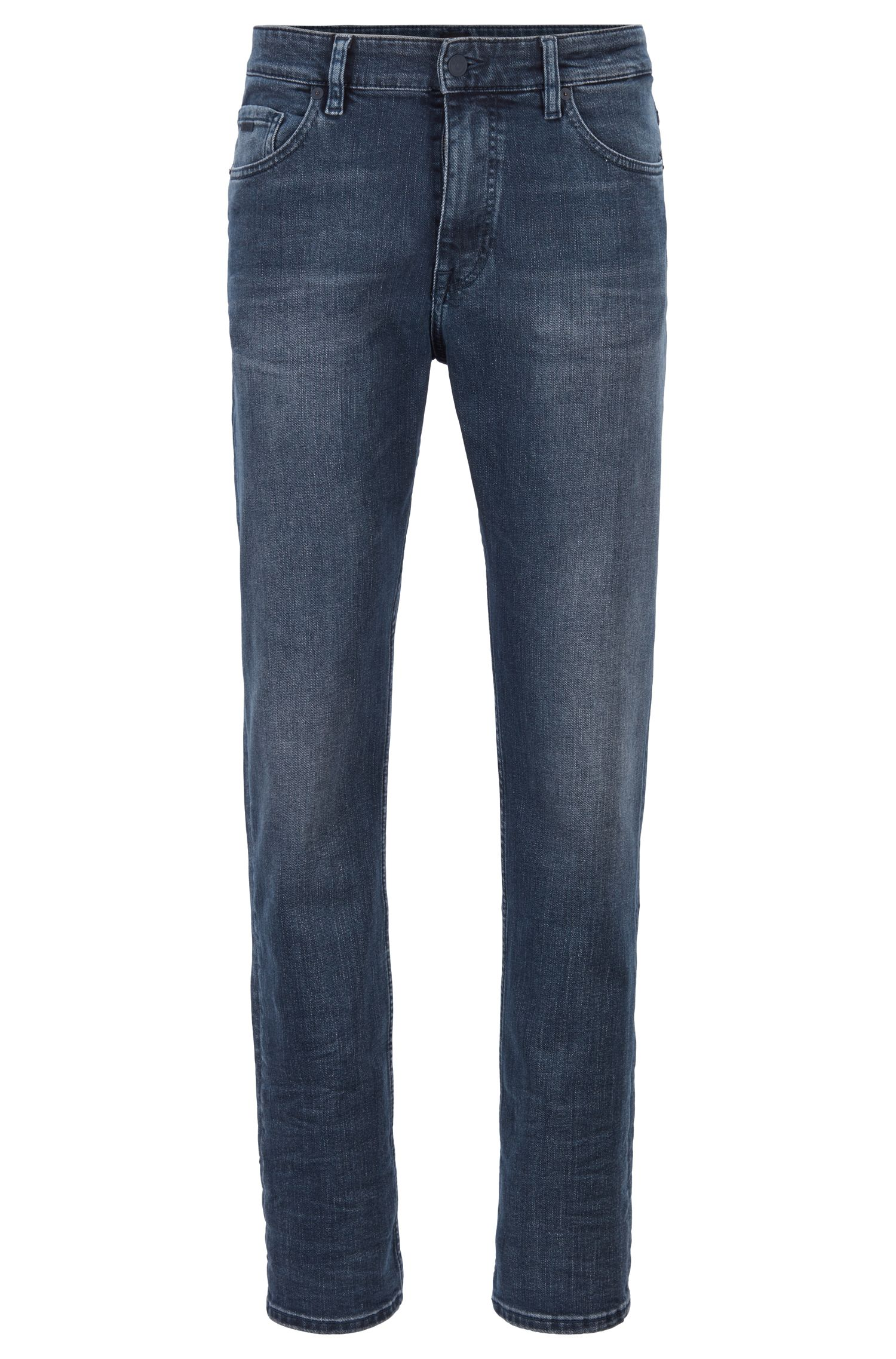 Relaxed-fit jeans van donkerblauw stretchdenim met used-effect, Blauw