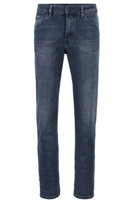 Relaxed-fit jeans in used-effect dark-blue stretch denim, Blue