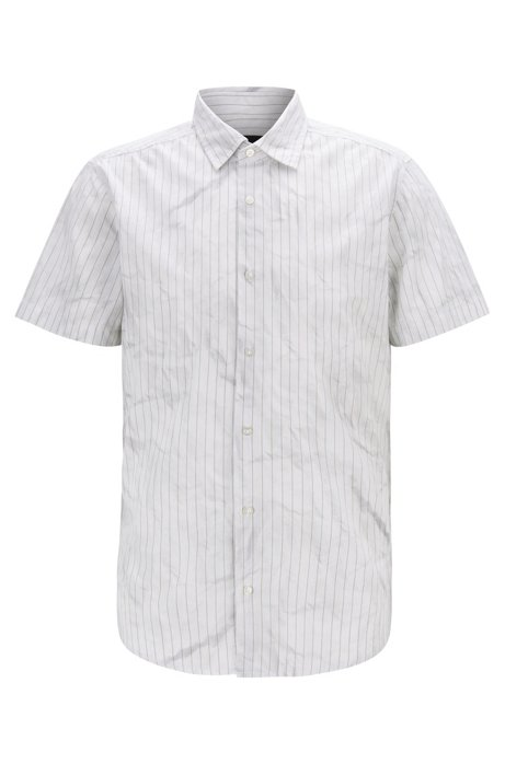 Regular-fit shirt in cotton with crinkle-effect print, Beige