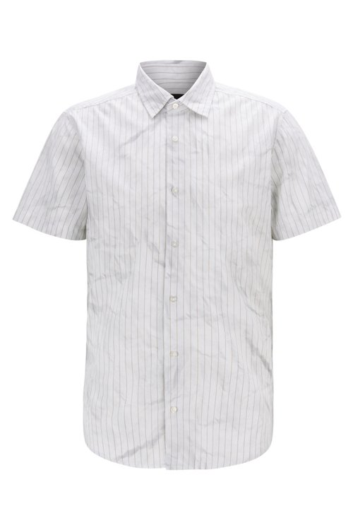 Hugo Boss - Regular-fit shirt in cotton with crinkle-effect print - 1