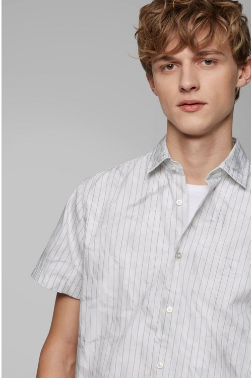 Hugo Boss - Regular-fit shirt in cotton with crinkle-effect print - 5