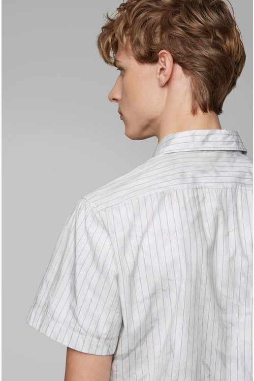 Hugo Boss - Regular-fit shirt in cotton with crinkle-effect print - 6