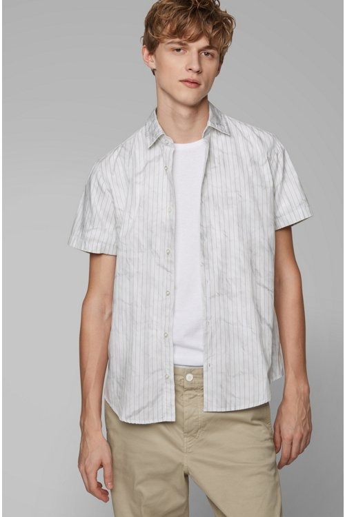 Hugo Boss - Regular-fit shirt in cotton with crinkle-effect print - 3