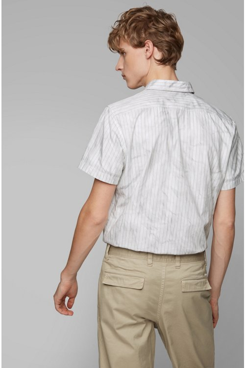 Hugo Boss - Regular-fit shirt in cotton with crinkle-effect print - 4