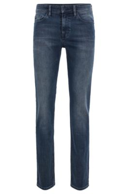 Jean Slim Fit en denim stretch confortable lavé pour plus de douceur, Bleu