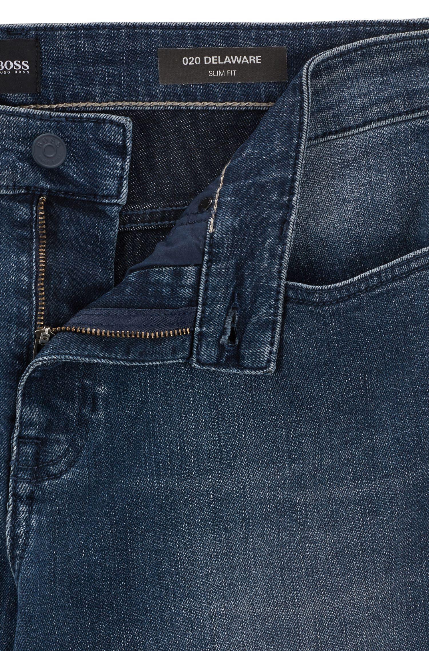Vaqueros slim fit en un cómodo y suave denim elástico lavado, Azul