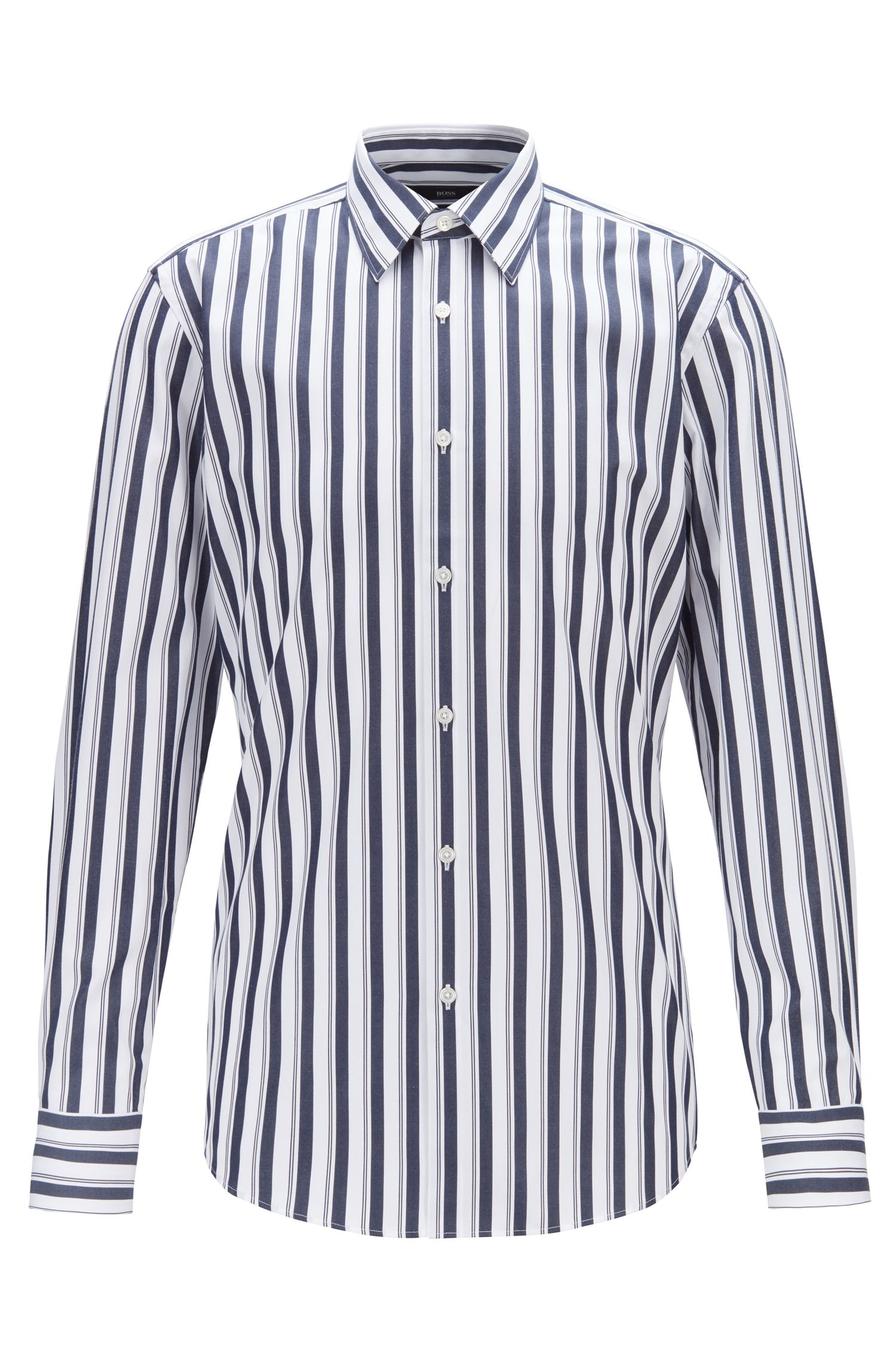 Slim-fit shirt in striped cotton poplin, Dark Blue
