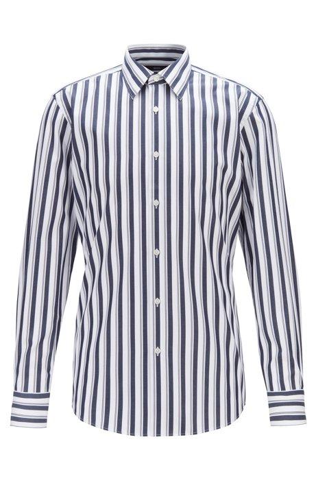 Gestreiftes Slim-Fit Hemd aus Baumwoll-Popeline, Dunkelblau