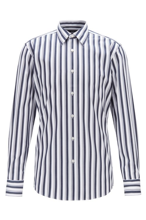 Hugo Boss - Slim-fit shirt in striped cotton poplin - 1