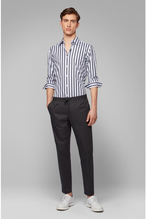 Hugo Boss - Slim-fit shirt in striped cotton poplin - 3