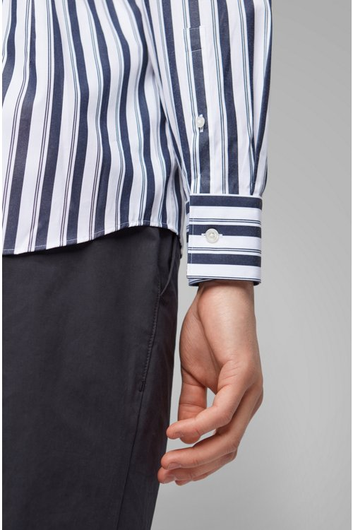 Hugo Boss - Slim-fit shirt in striped cotton poplin - 5