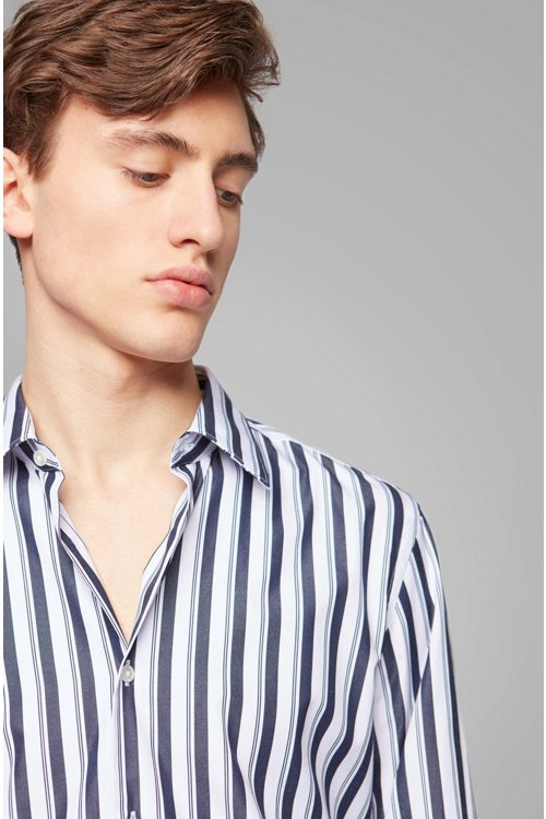 Hugo Boss - Slim-fit shirt in striped cotton poplin - 2