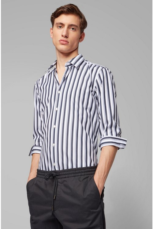 Hugo Boss - Slim-fit shirt in striped cotton poplin - 4