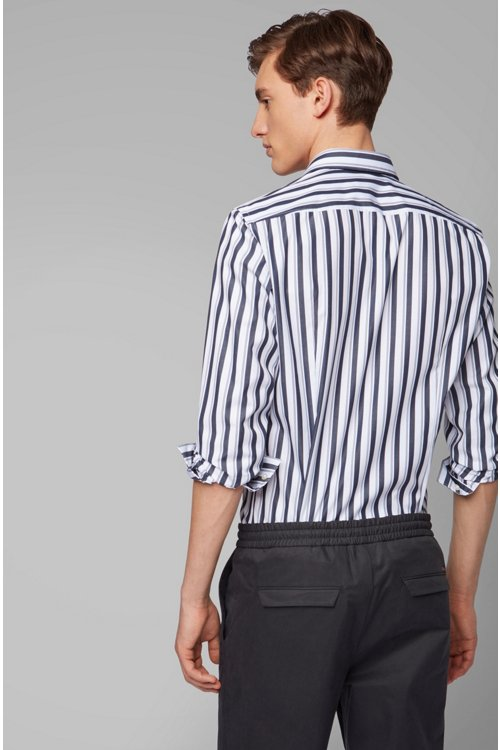 Hugo Boss - Slim-fit shirt in striped cotton poplin - 6
