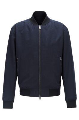 Regular-fit bomber-style blouson jacket in seersucker fabric, Dark Blue