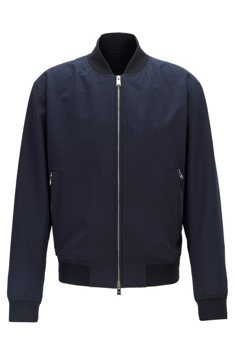 Regular-fit bomber-style blouson jacket in seersucker fabric, Dark Blue