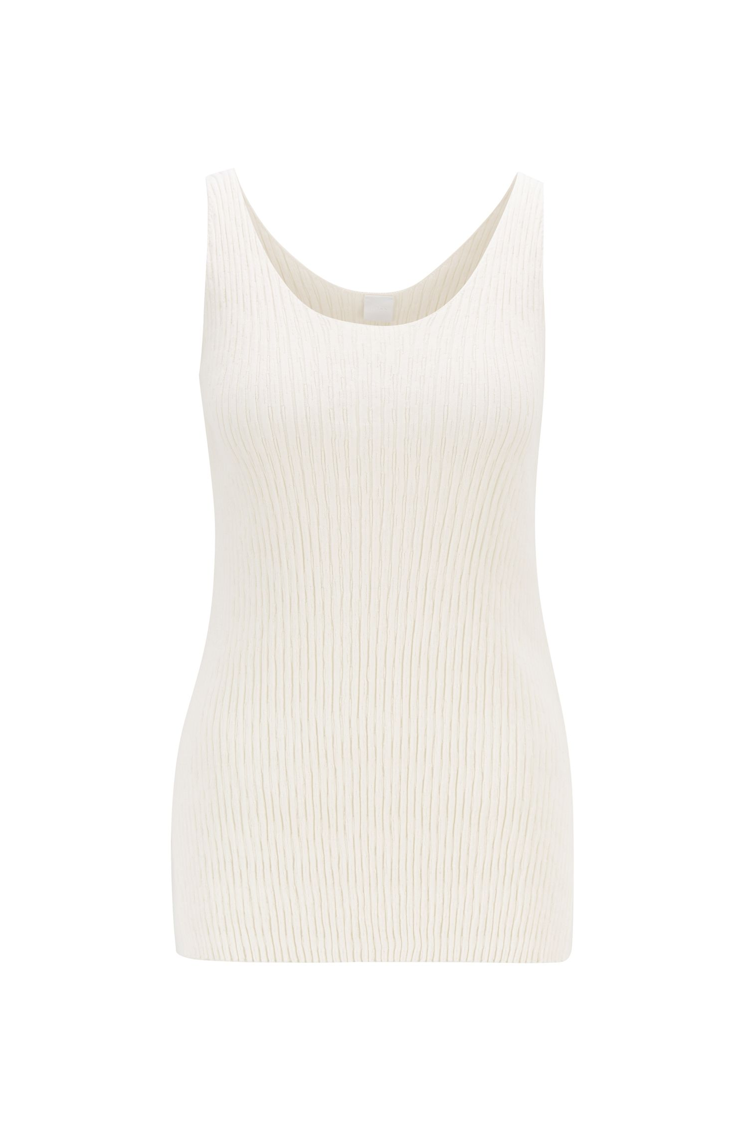 Camiseta de tirantes en punto de canalé de algodón con seda, Natural