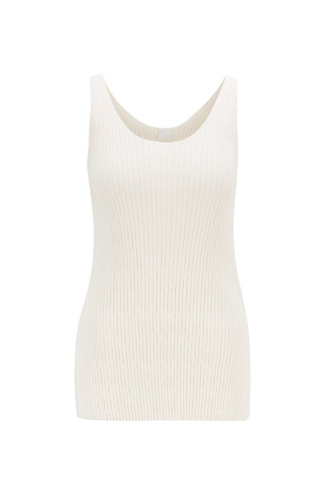 Rib-knit tank-top in cotton with silk, Natural