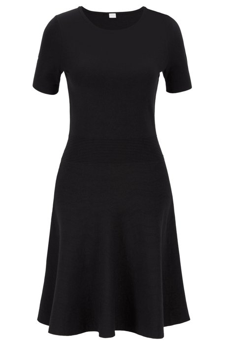 Two-tone jacquard-knit dress with structured waistband, Black