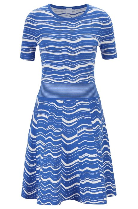 Two-tone jacquard-knit dress with structured waistband, Blue