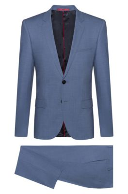 Extra-slim-fit suit in tropical stretch wool, Lichtblauw