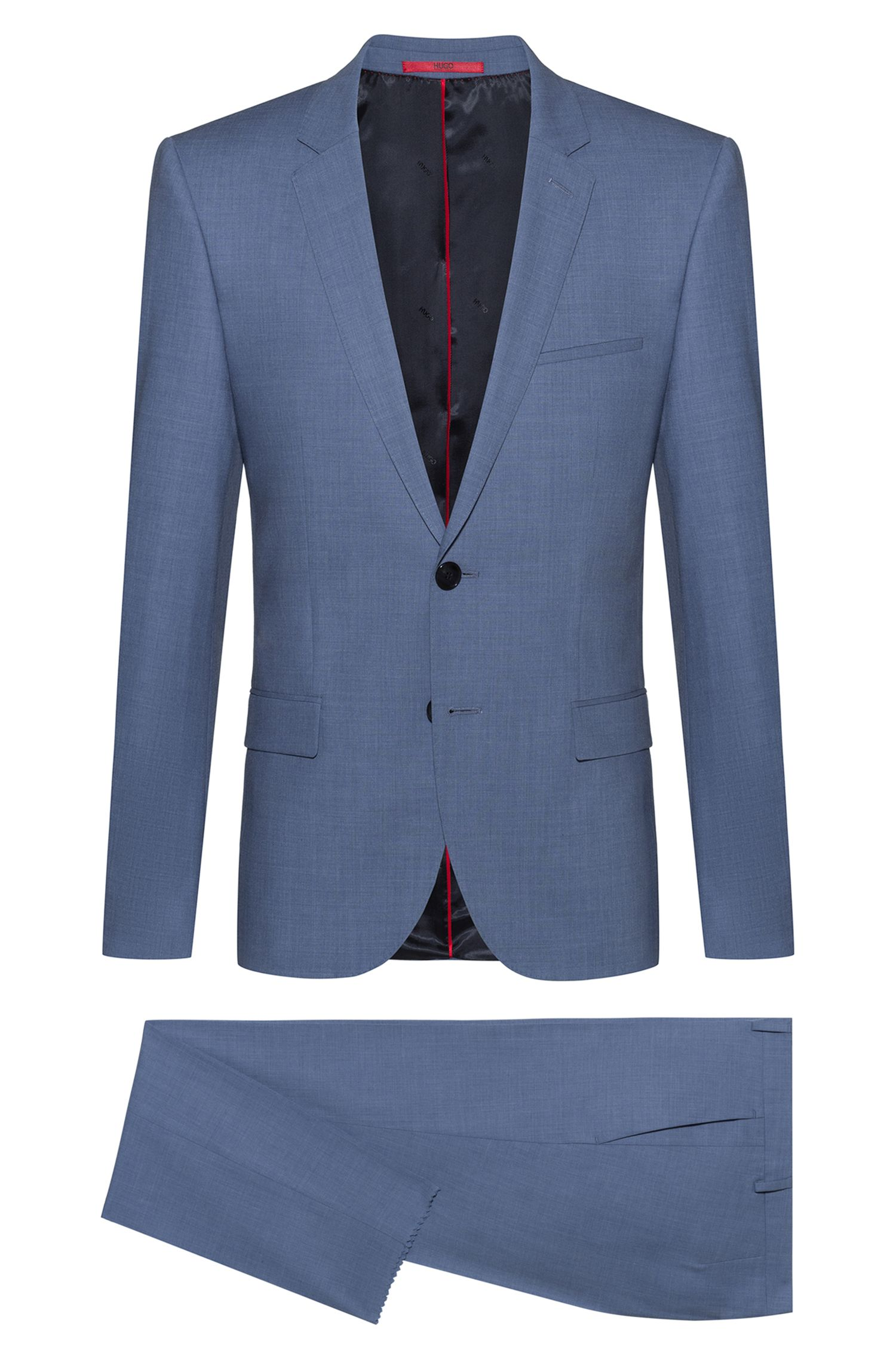 Extra-slim-fit suit in tropical stretch wool, Bleu vif