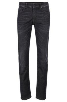 Slim-fit jeans van superelastisch gewassen zwart denim, Donkergrijs