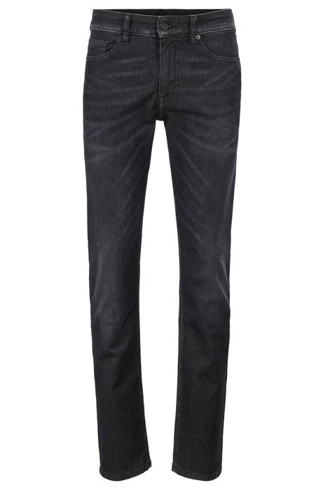 Slim-fit jeans in super-stretch washed black denim, Dark Grey
