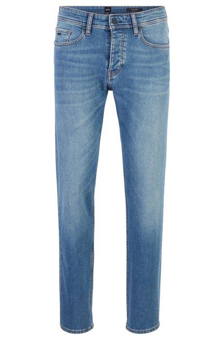 Tapered-fit jeans van gebleekt comfort-stretchdenim, Blauw