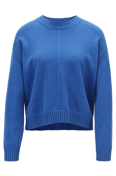 Oversized-fit sweater with mixed stitching detail, Blue
