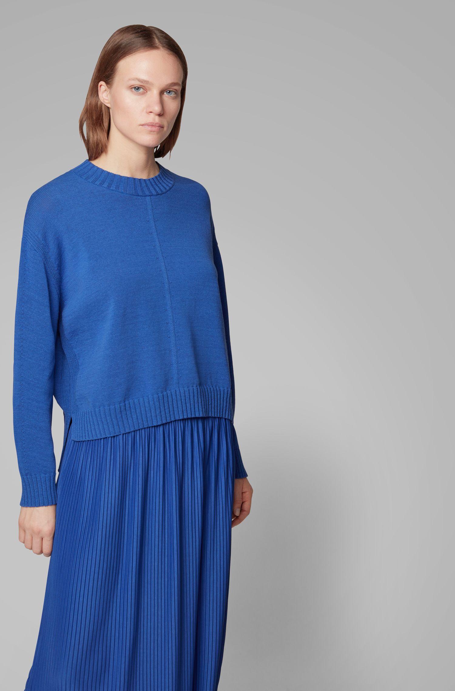 Maglione oversize con lavorazioni miste, Blu