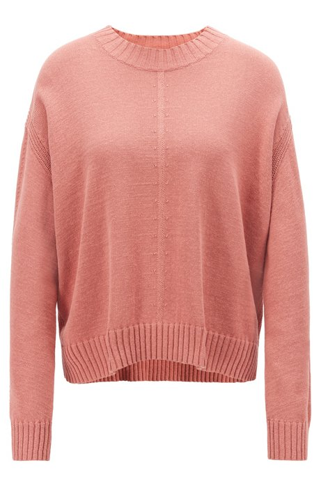 Oversized Pullover aus Baumwoll-Mix mit gestickten Details, Hellrot