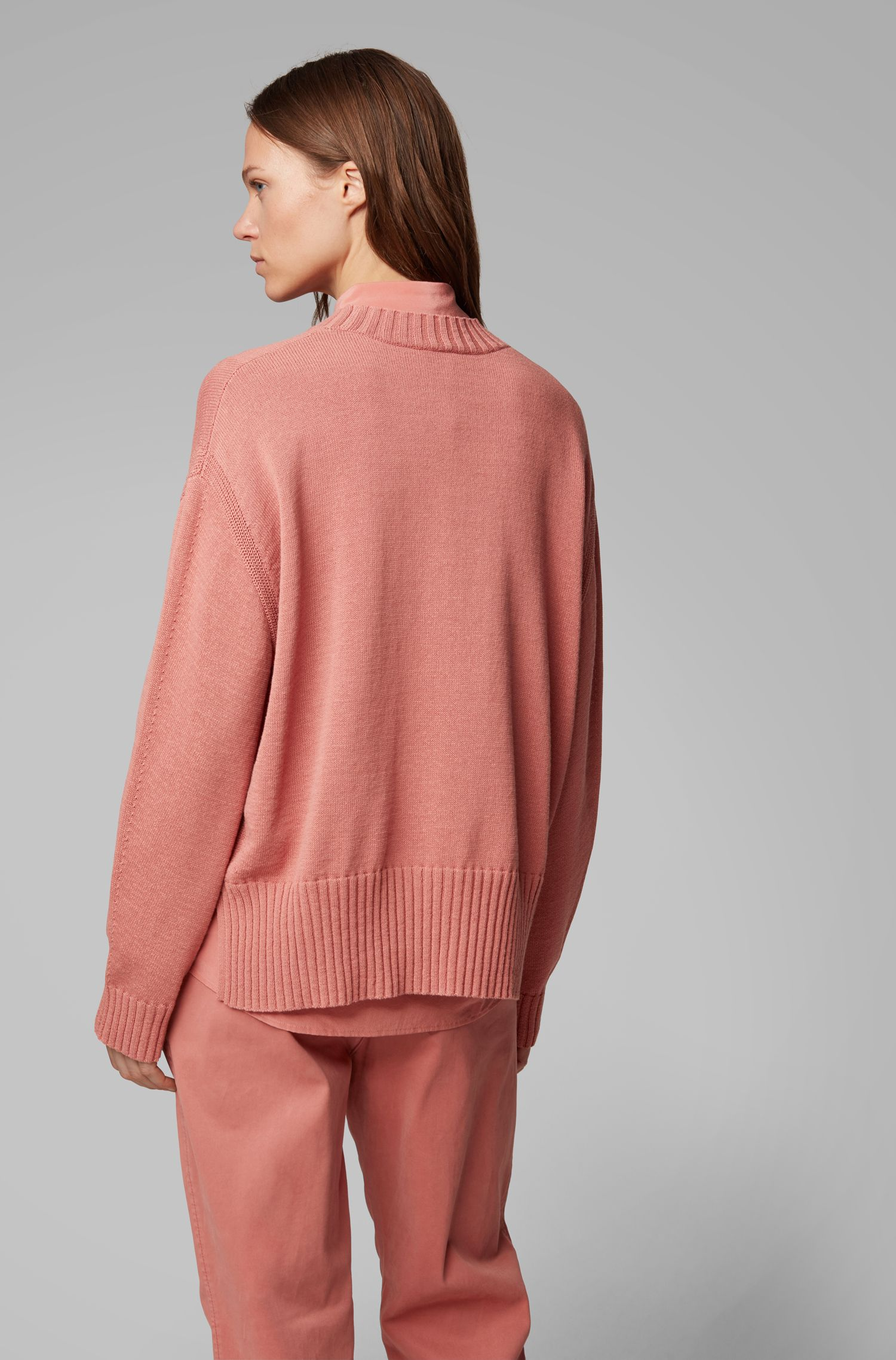 Oversized-fit sweater with mixed stitching detail, Light Red