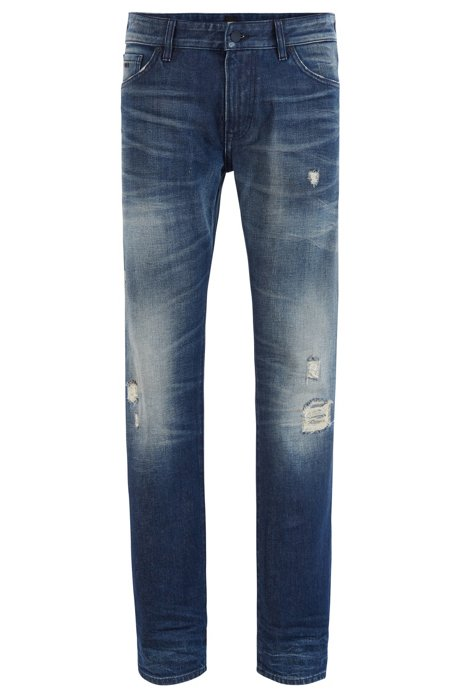 Jean Regular Fit en denim Candiani au look usé, Bleu
