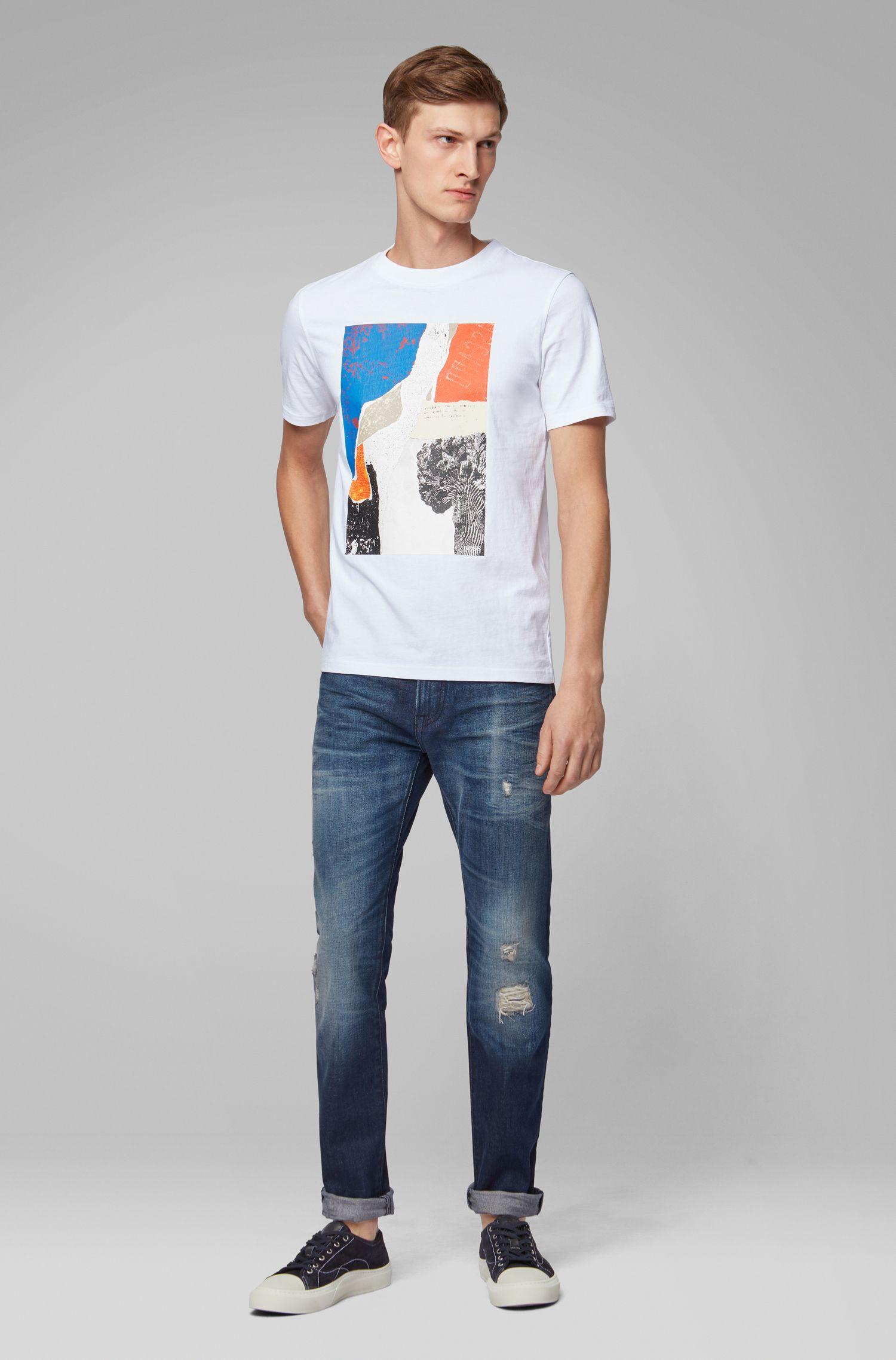 Jeans regular fit in denim Candiani effetto vintage, Blu