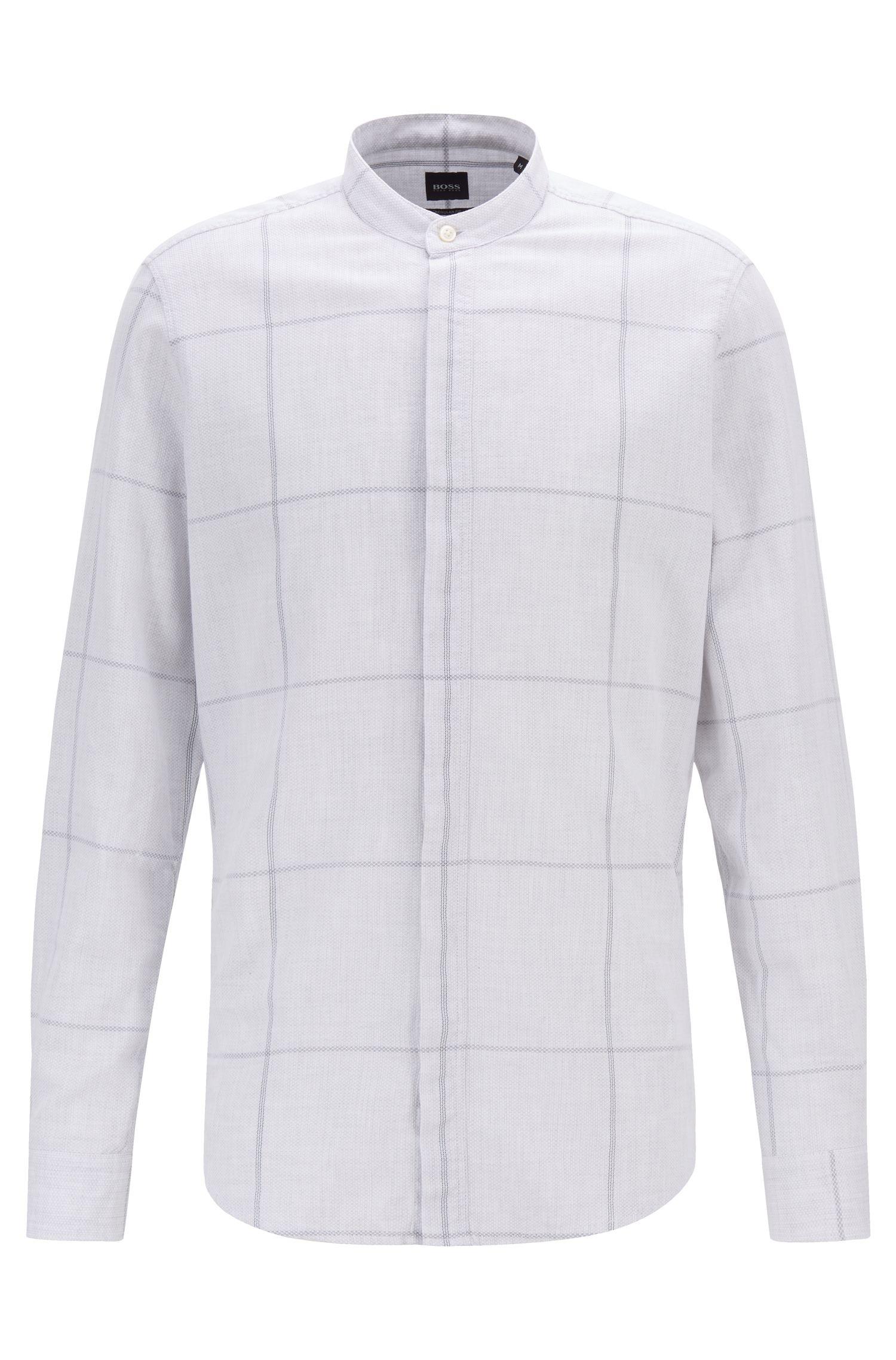 Regular-Fit Hemd aus groß kariertem Piqué mit Stehkragen, Weiß
