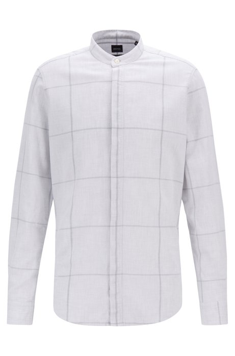 Regular-fit shirt in oversized check piqué with stand collar, White