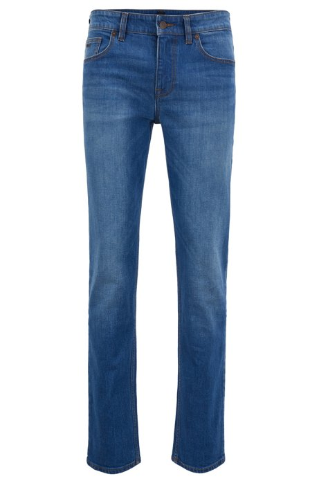 Slim-fit jeans in ocean-blue stretch denim, Blue