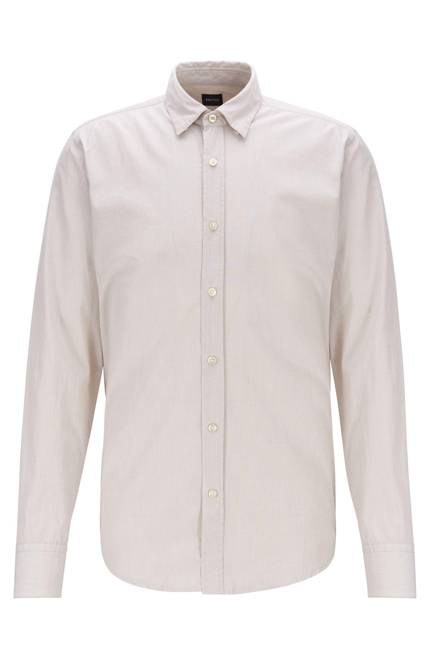 Camicia regular fit in cotone fil-à-fil lavato, Beige chiaro