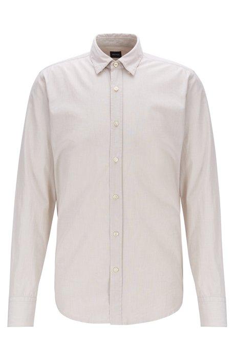 Regular-fit overhemd in een gewassen fil-à-fil-katoen, Lichtbeige