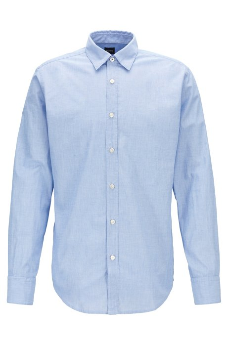 Regular-fit shirt in washed fil-à-fil cotton, Blue