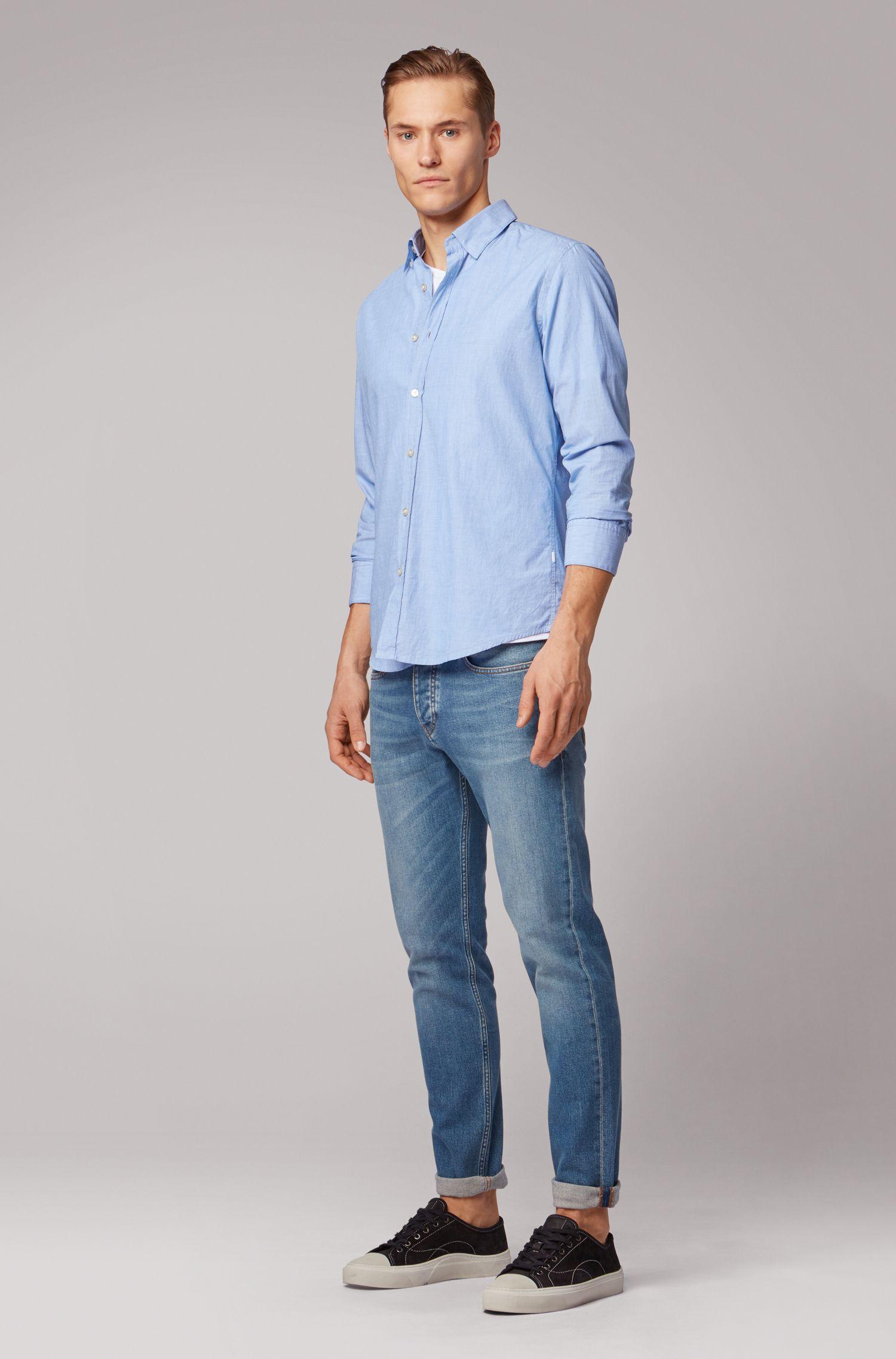 Camicia regular fit in cotone fil-à-fil lavato, Blu