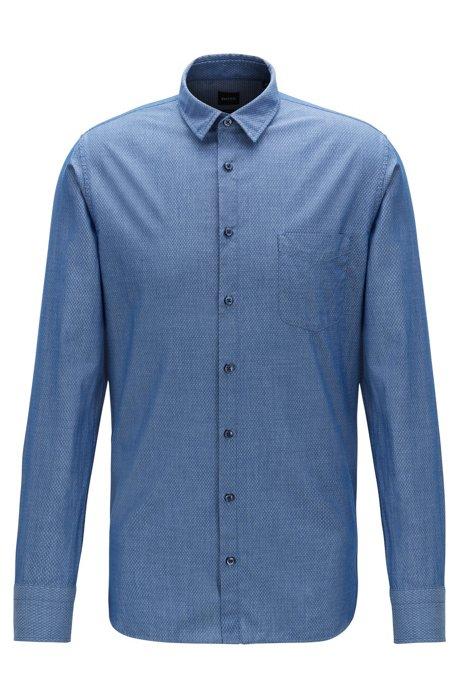 Slim-Fit Hemd aus Baumwolle mit grafischer Struktur, Dunkelblau