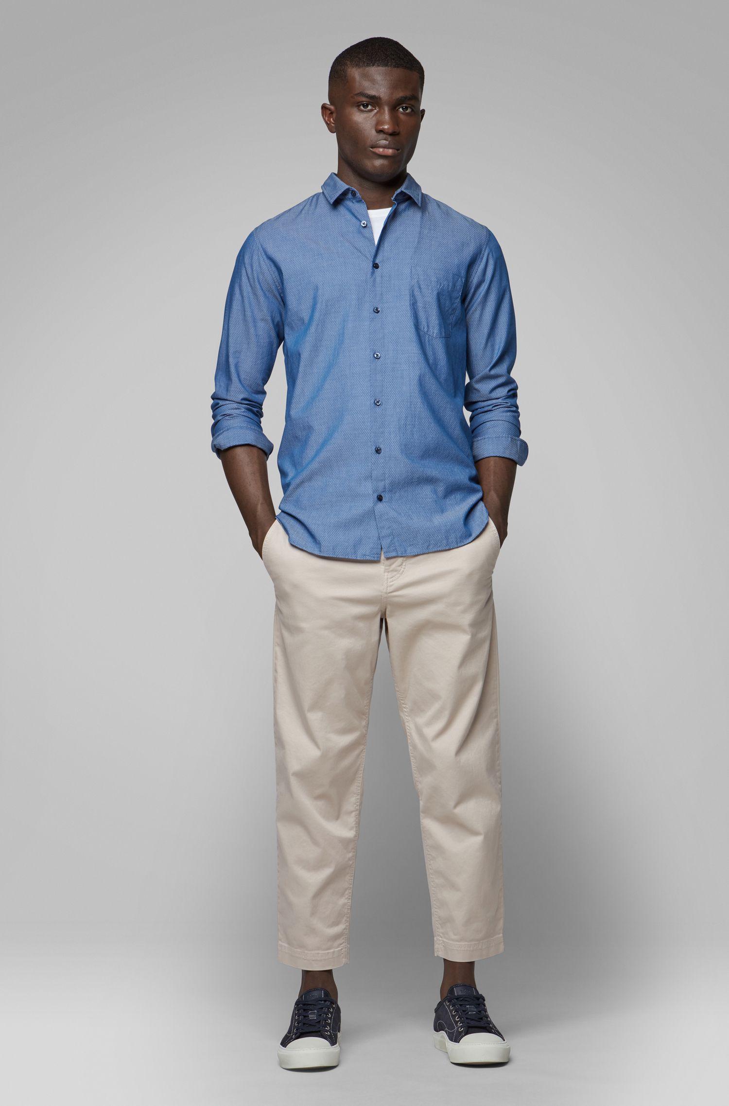 Camicia slim fit in cotone dobby con lavorazione grafica, Blu scuro