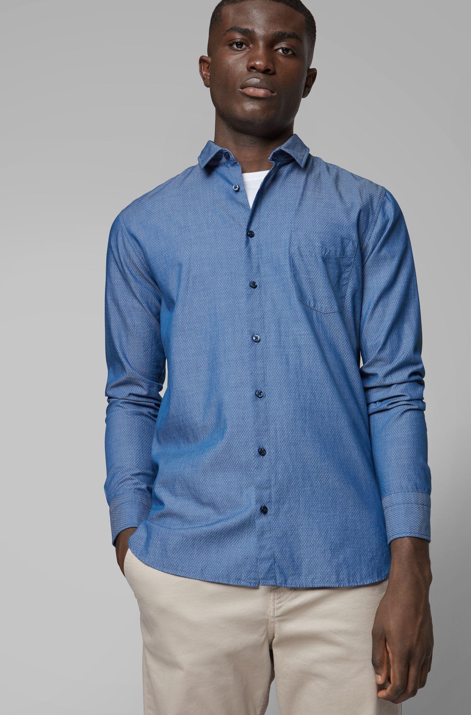 Chemise Slim Fit en coton façonné à la texture graphique, Bleu foncé