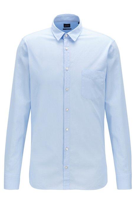 Slim-fit overhemd van dobbykatoen met grafische structuur, Donkerblauw