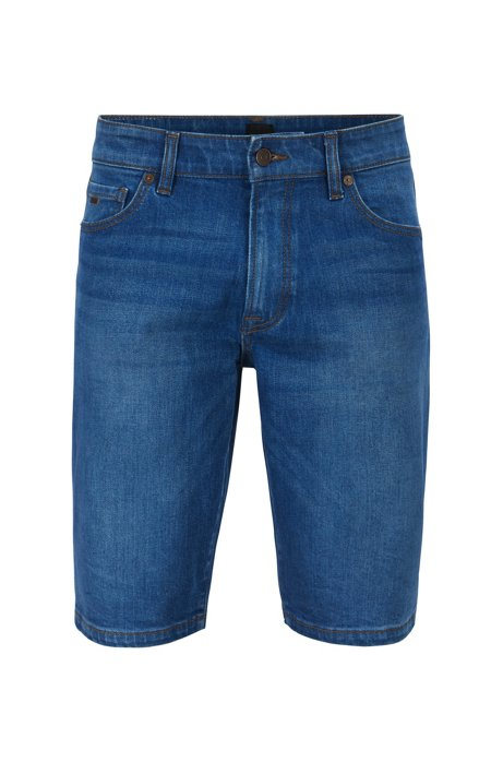 Regular-fit shorts in ocean-blue comfort-stretch denim, Blue