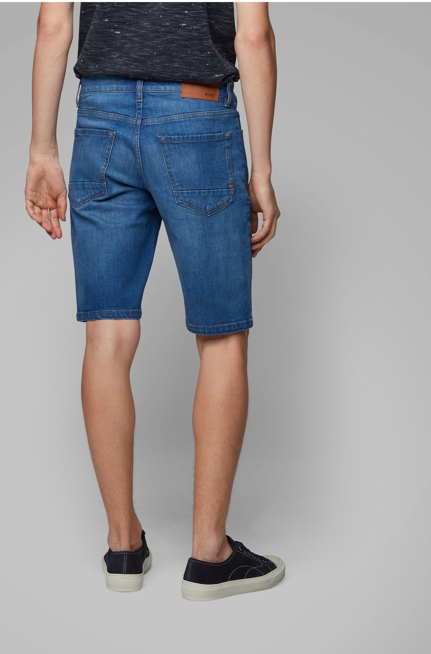 Short Regular Fit en denim stretch confortable bleu océan, Bleu