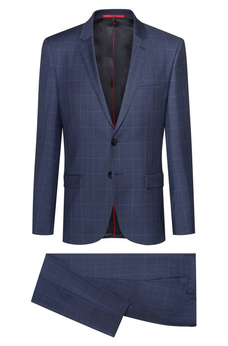 Extra-slim-fit suit in pop-colour windowpane check, Patterned