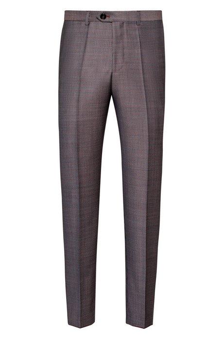Tapered-Fit Hose aus Schurwolle mit dreifarbigem Mikro-Muster, Gemustert